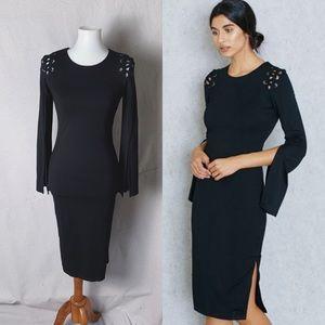 BARDOT Lace Up Shoulder Split Sleeve Bodycon Dress